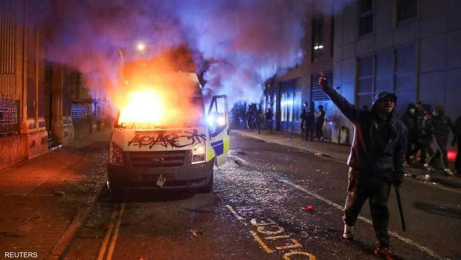 احتجاجات كبيرة شهدتها مدينة بريستول