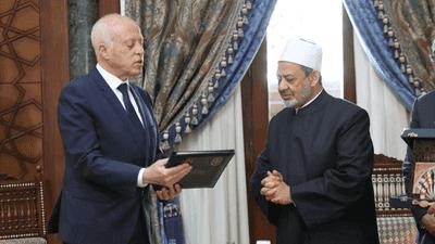 شيخ الأزهر يهدي رئيس تونس نسخة من وثيقة الأخوة الإنسانية