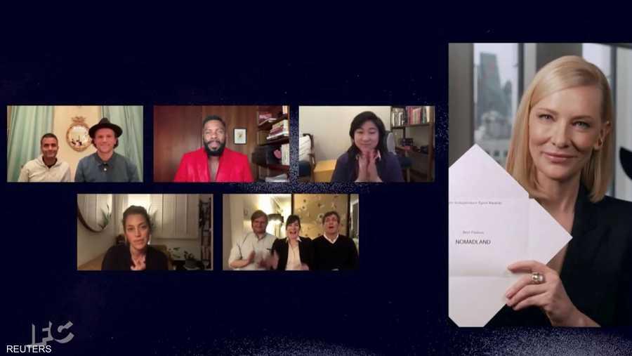 لحظة الإعلان عن فوز فيلم نومادلاند كأفضل فيلم بجائزة الأوسكار