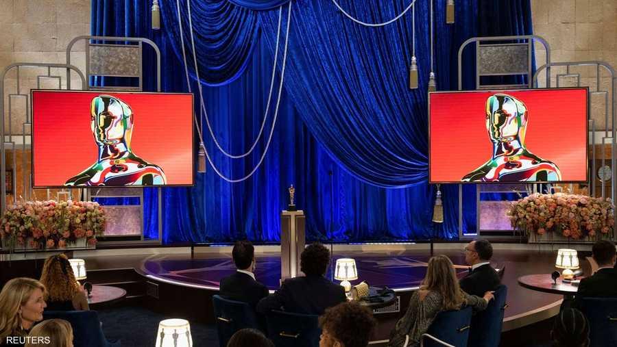 """منظر للمسرح خلال البث المباشر لـ""""أي بي سي تيليكاست"""" لحفل توزيع جوائز الأوسكار الـ93."""