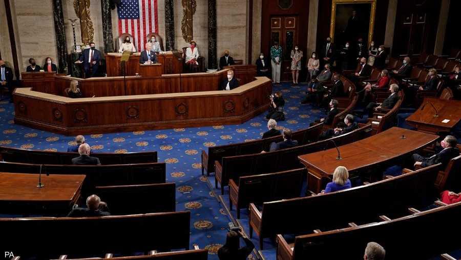 بدأ بايدن خطابه بأنه استعاد ثقة الأميركيين في الديمقراطية
