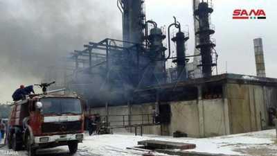 التلفزيون السوري عرض صورا للحريق