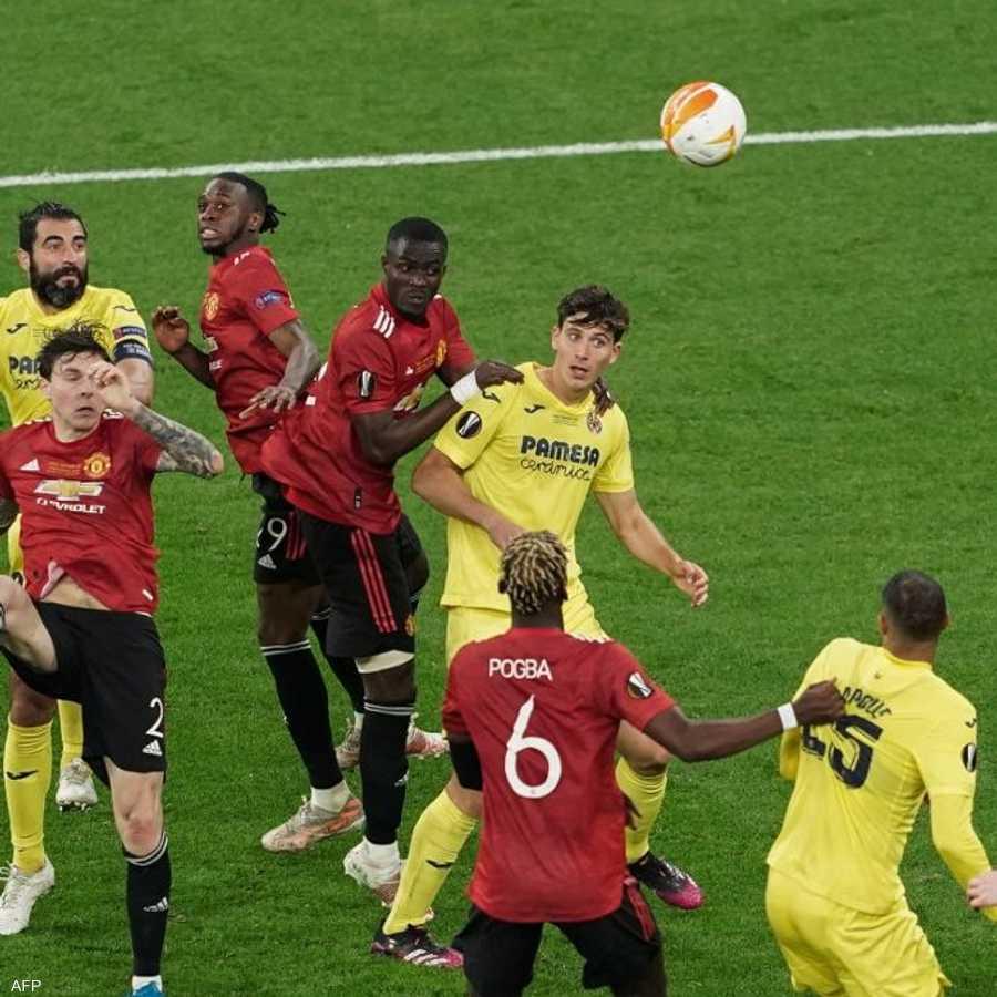 جانب من مباراة مانشستر يونايتد الإنجليزي وفياريال الإسباني.