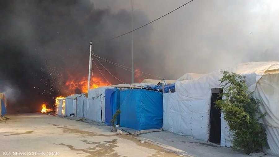 حريق كبير في خيم الإيزيديين