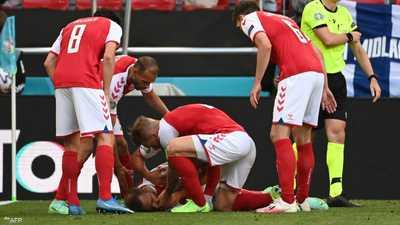 إريكسن لحظة سقوطه على الأرض مغشيا عليه.