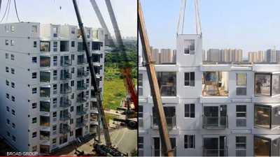 """بالفيديو.. """"معجزة"""" صينية ببناء برج سكني في يوم واحد"""