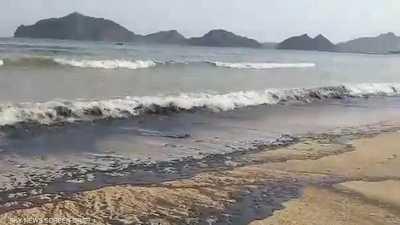 آثار تلوث النفط من السفينة قبالة عدن