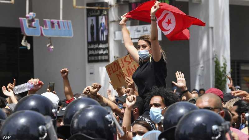 جانب من الاحتجاجات في تونس