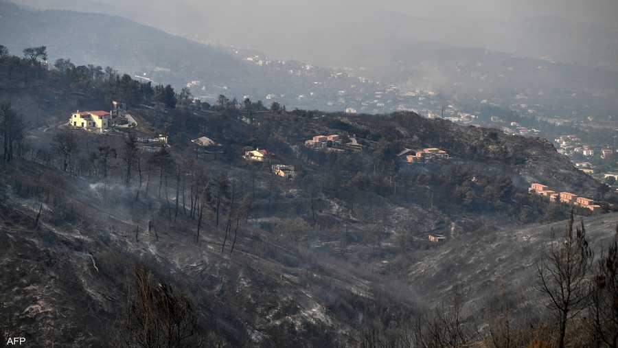 منطقة خضراء صارت أثرا بعد عين بسبب الحرائق في شمالي أثينا