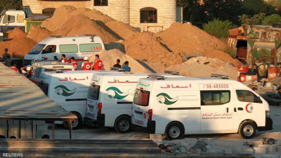 سيارات الإسعاف في موقع انفجار الصهريج في عكار