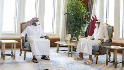 أمير قطر يستقبل وفدا إماراتيا برئاسة الشيخ طحنون بن زايد