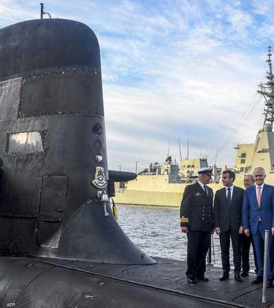 الرئيس الفرنسي ورئيس الوزراء الأسترالي على ظهر غواصة في 2018