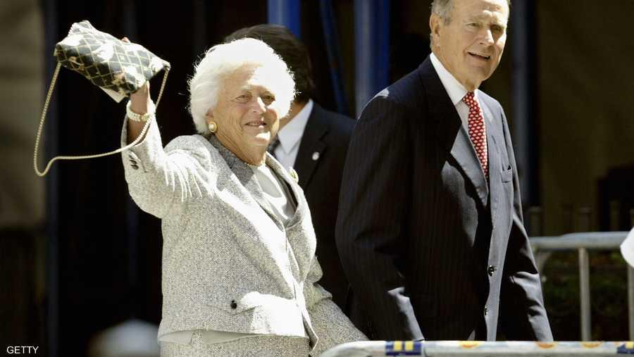 الرئيس الأميركي وزوجته باربارا التي توفيت في أبريل