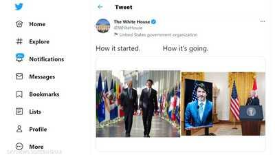 """البيت الأبيض ينشر """"صورة تذكارية"""" للقاءين جمعا بايدن وترودو"""